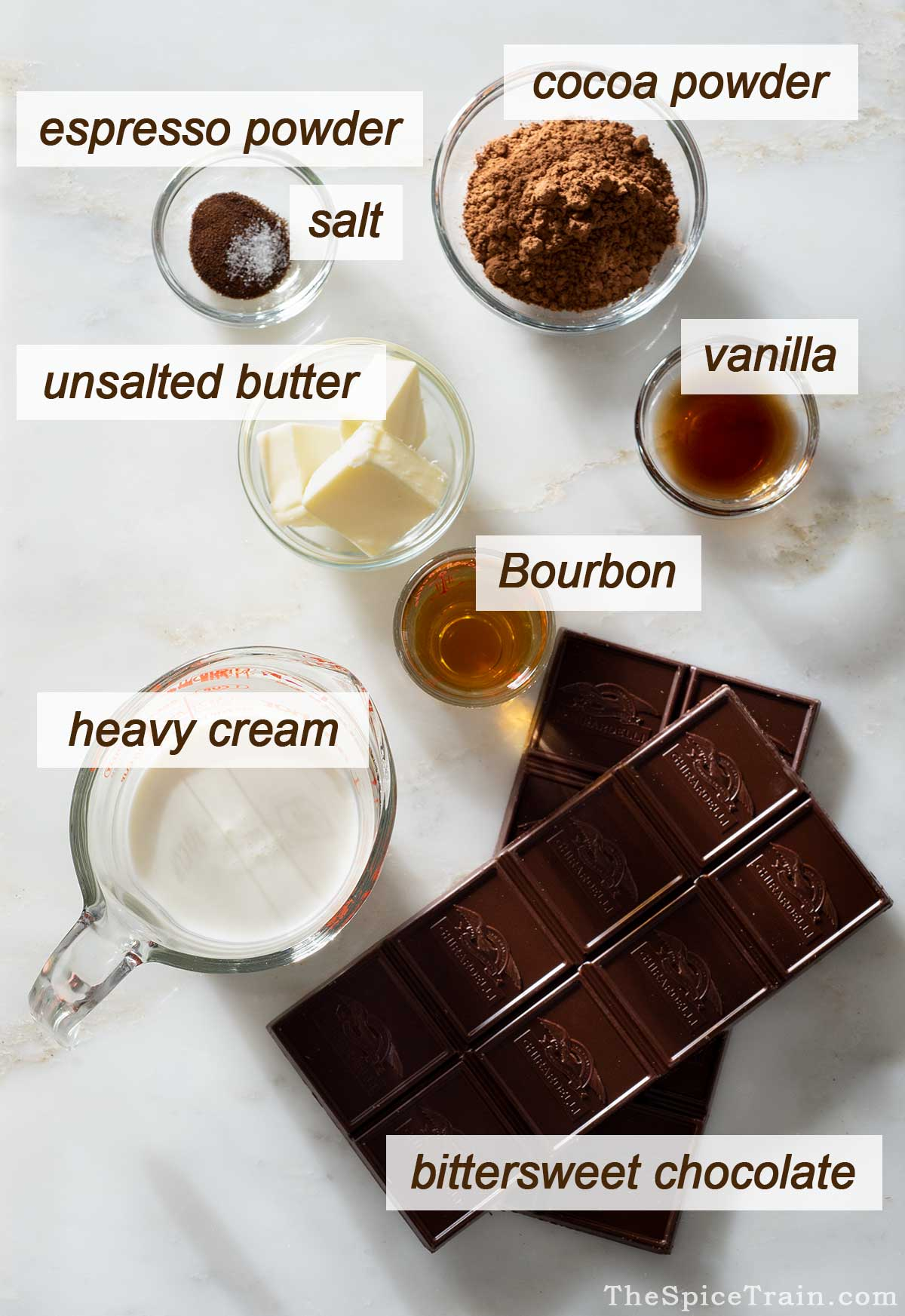 Bourbon truffle ingredients on a kitchen counter.
