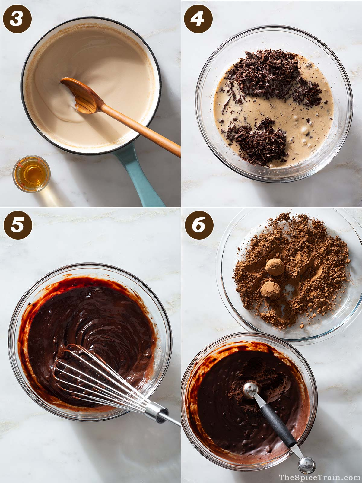 Chocolate ganache and truffles being prepared in four steps.