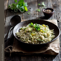 Herbed Roasted Cauliflower Rice with Coriander Grilled Zucchini Recipe