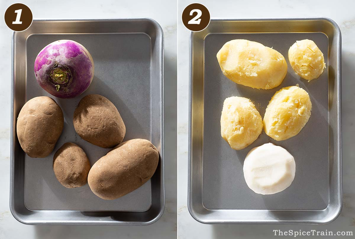 Potatoes and turnips before and after baking.