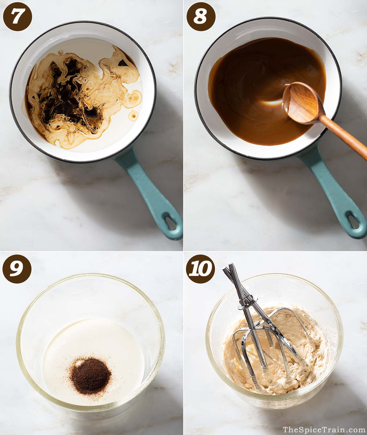 Coffee sauce and espresso whipped cream preparation.