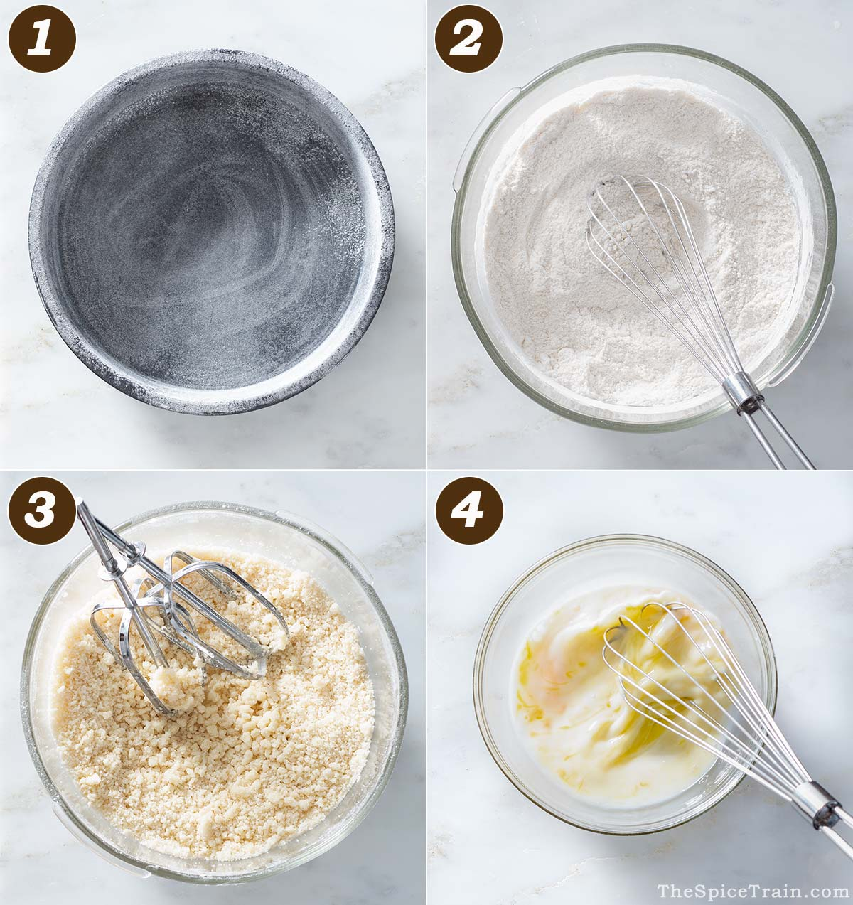 A round cake pan and dry and wet ingredients for a cake batter in a bowl.