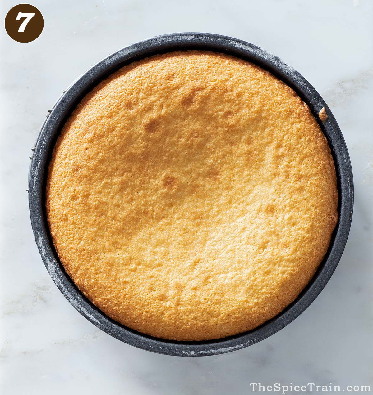 Baked cake in a round cake pan.