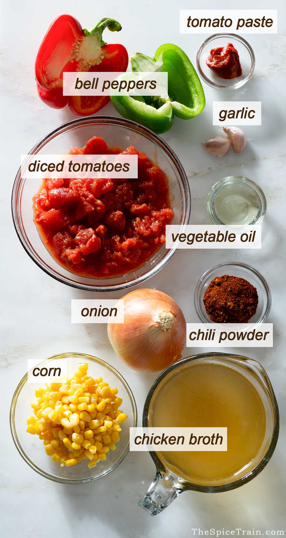 Chili ingredients on a kitchen counter.