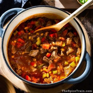 chunky beef chili in a Dutch oven