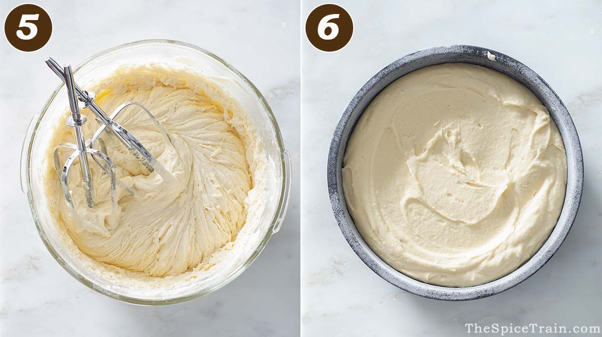 Raw cake batter in a bowl and in a cake pan.