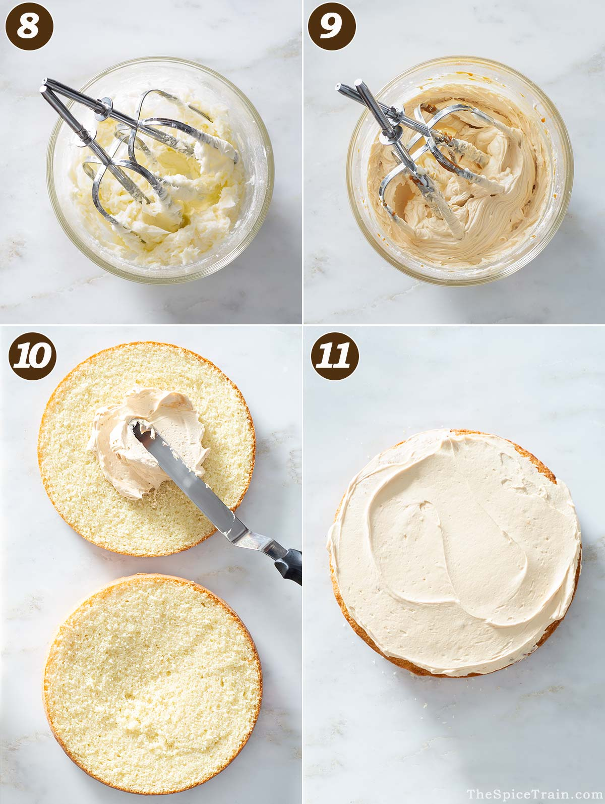 Whipped caramel buttercream in a bowl and spread onto cake.