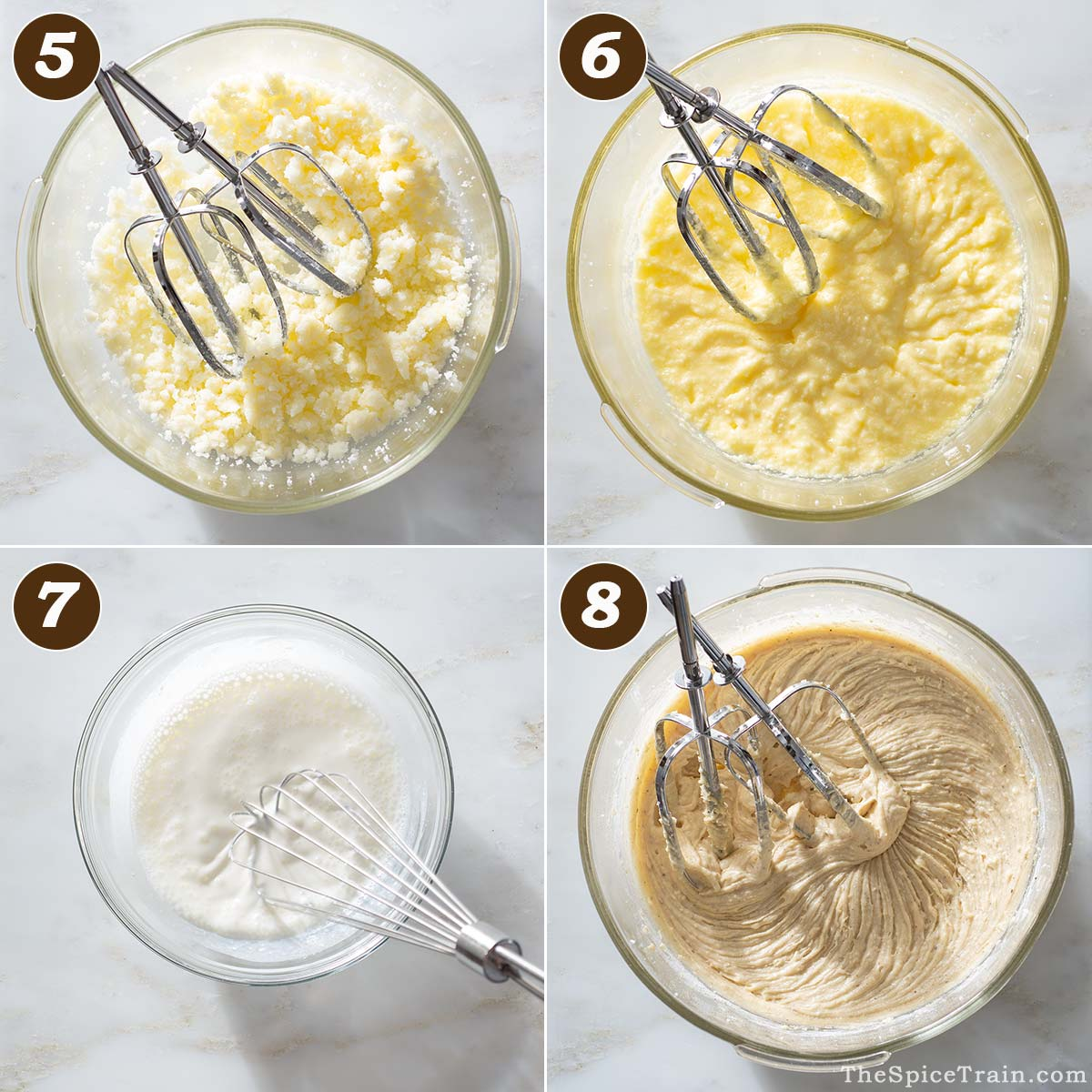 Cake batter being prepared in four steps.