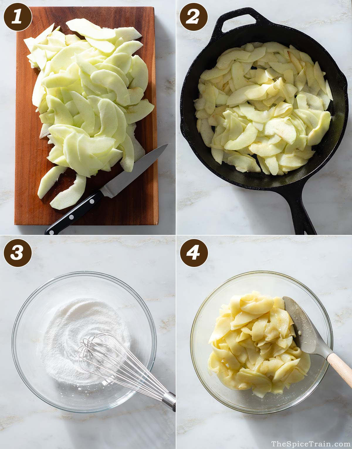 Sliced apples being prepared for an apple tart in four steps.