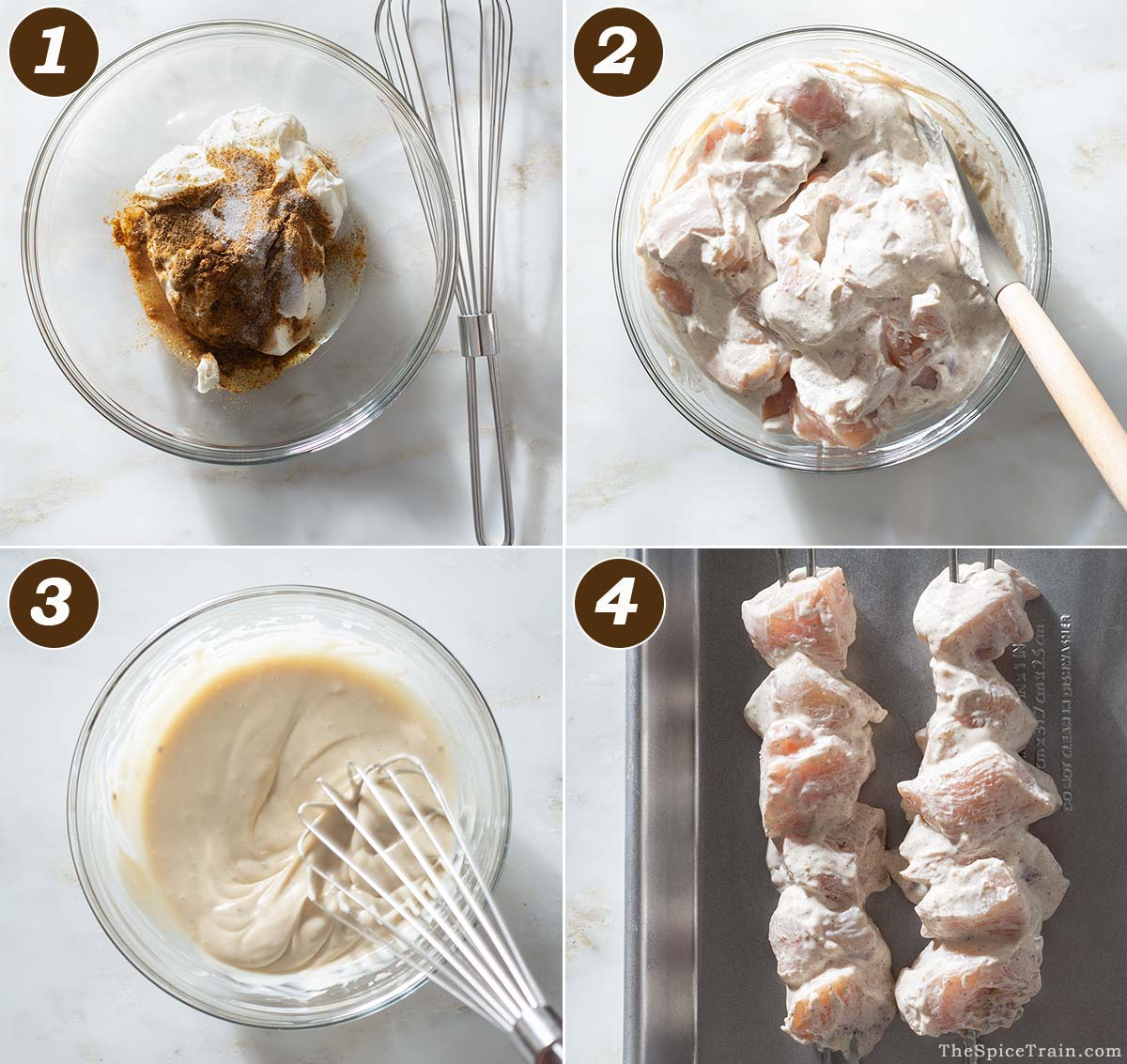 Salad dressing and marinade in a bowl and marinated chicken cubes in a bowl and on skewers.
