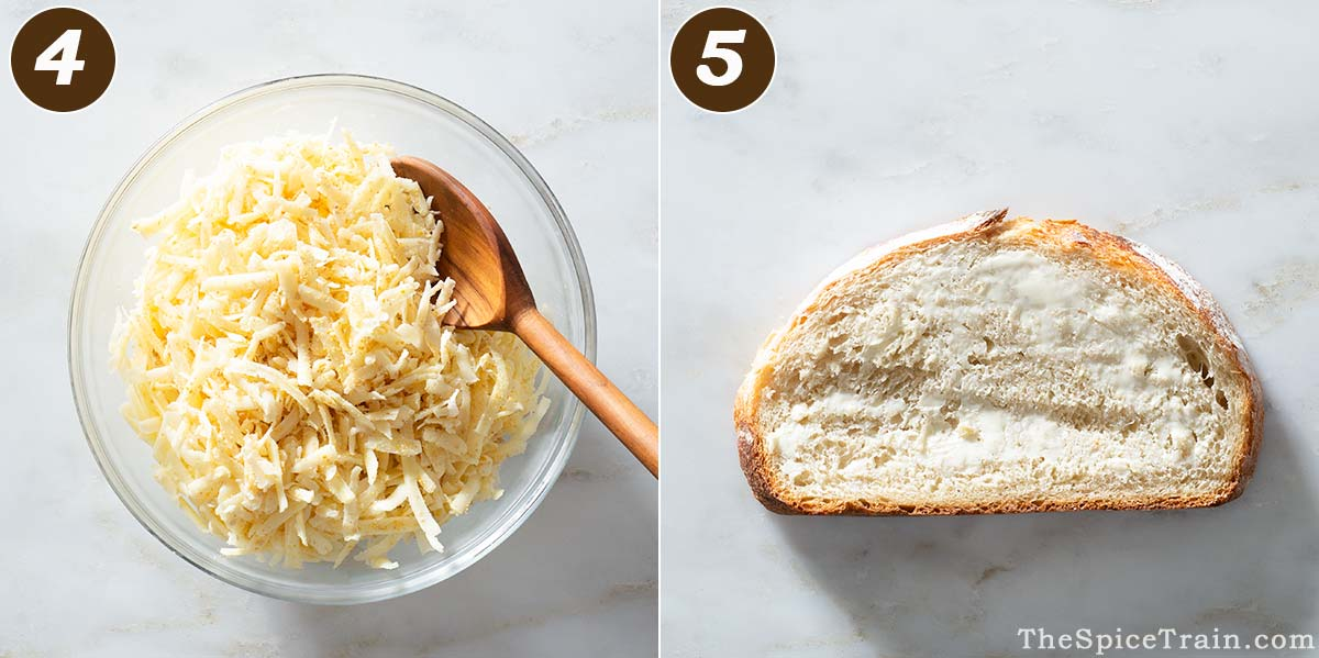 A bowl with cheese and a slice of buttered bread.