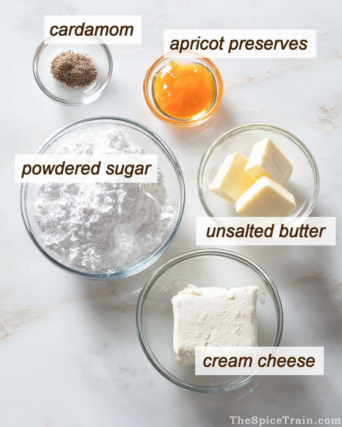 Apricot cream cheese frosting ingredients.