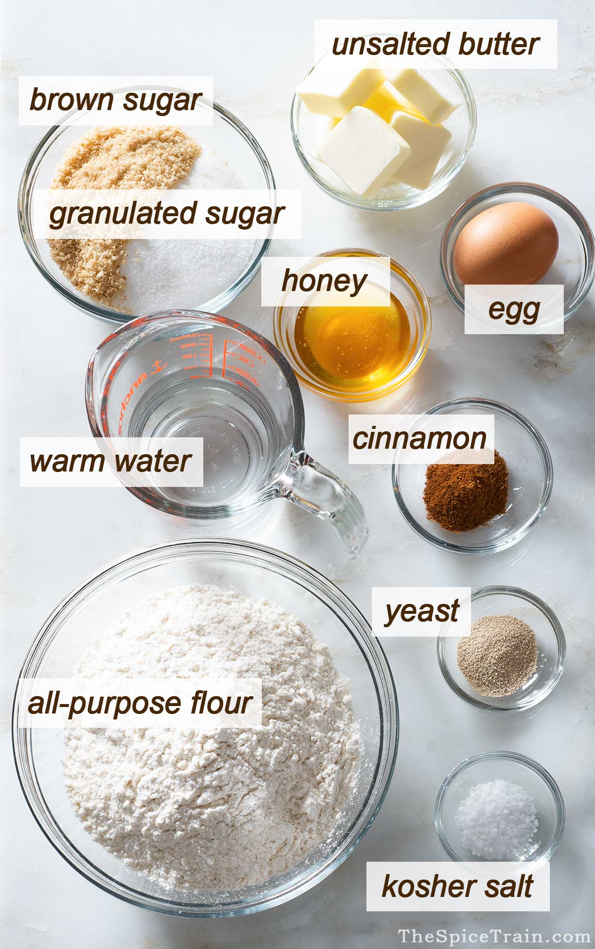 Cinnamon roll ingredients on a kitchen counter.