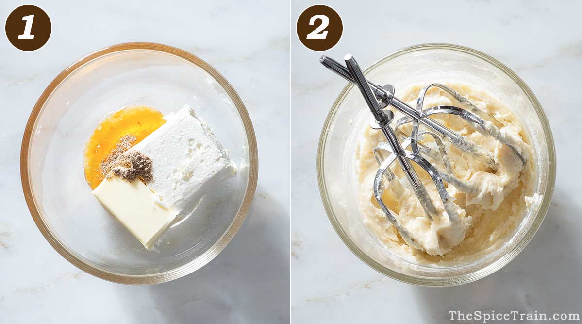 Cream cheese frosting ingredients in a bowl before and after whipping.
