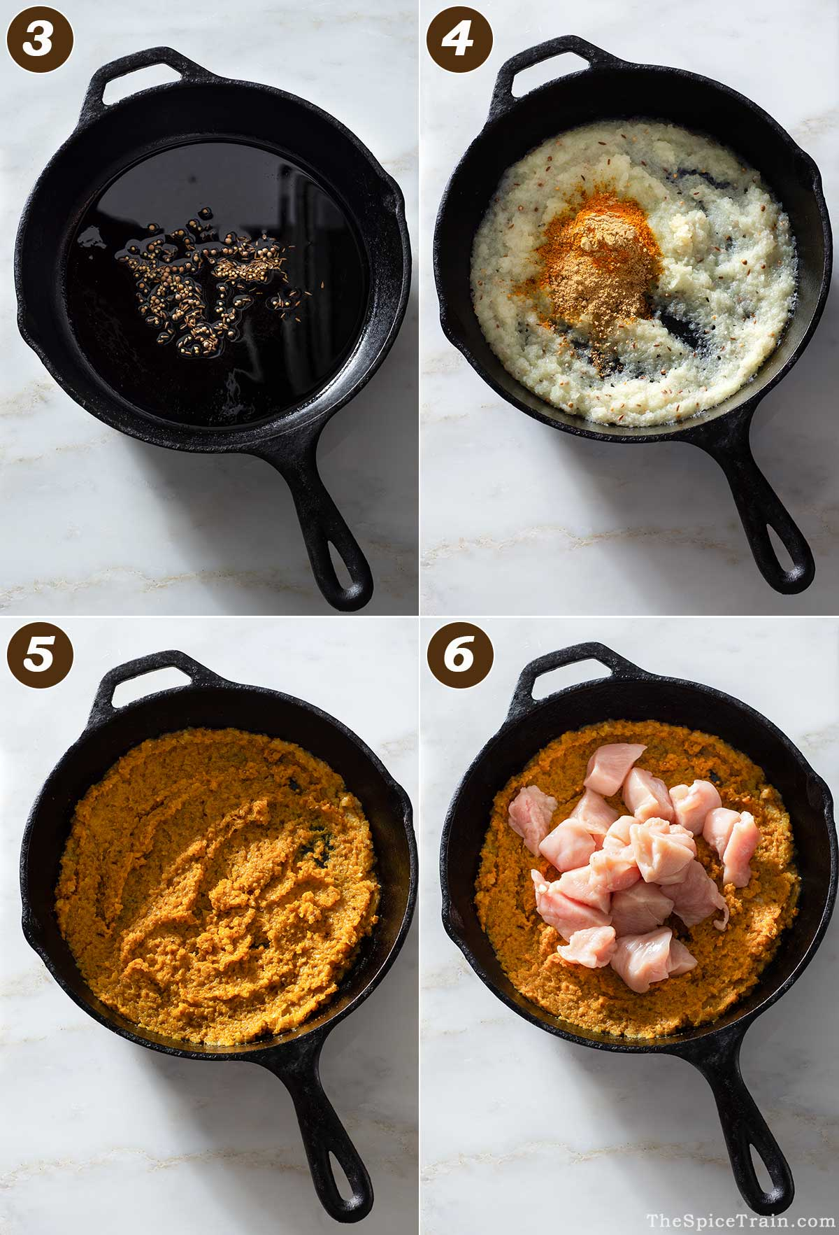 Curry preparation in four steps.