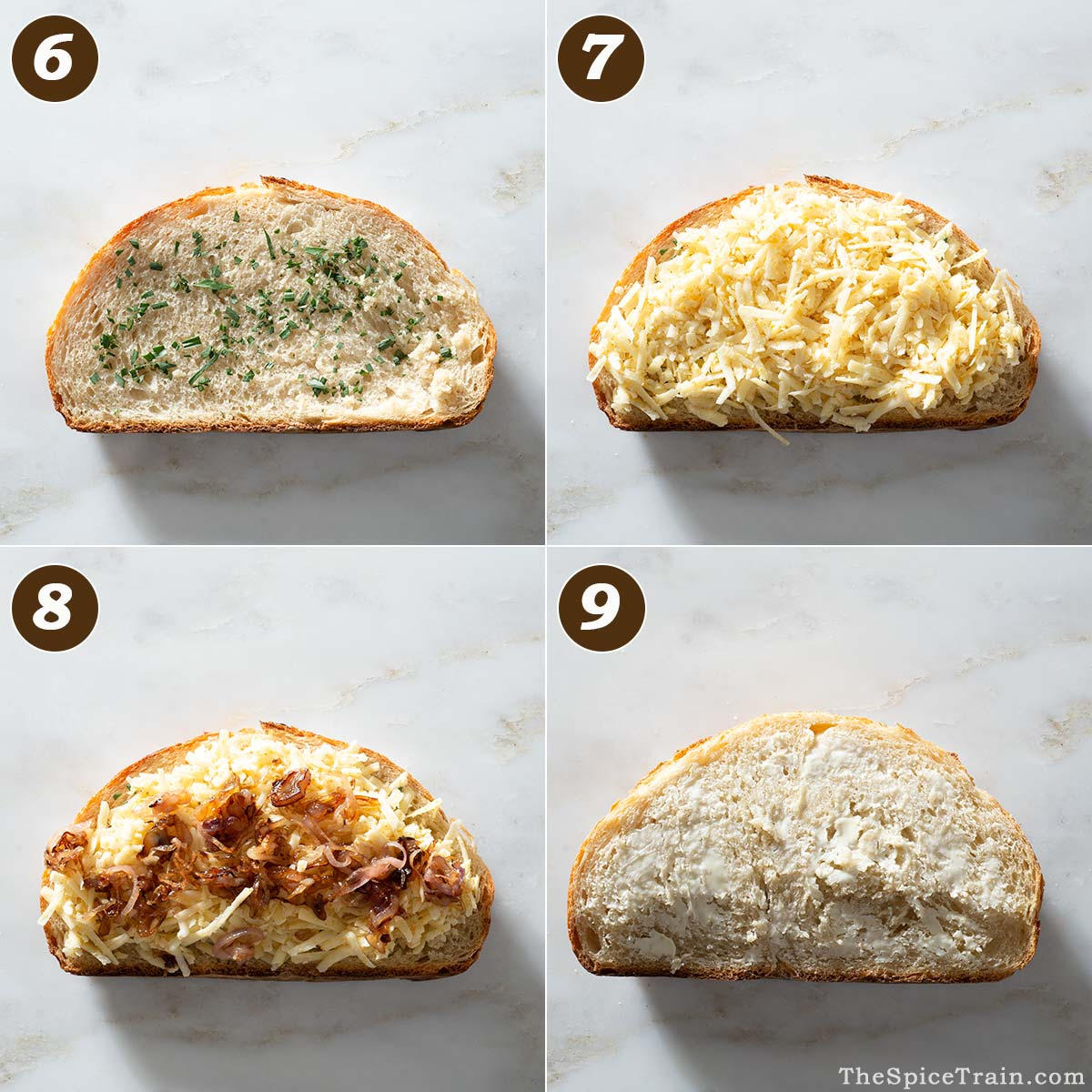 Grilled cheese sandwich being assembled in four steps.