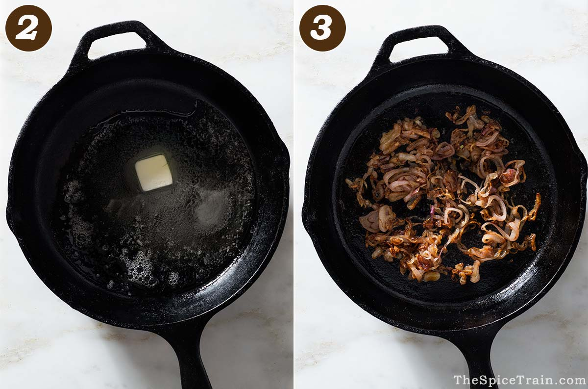 Melted butter and caramelized shallots in a cast iron pan.