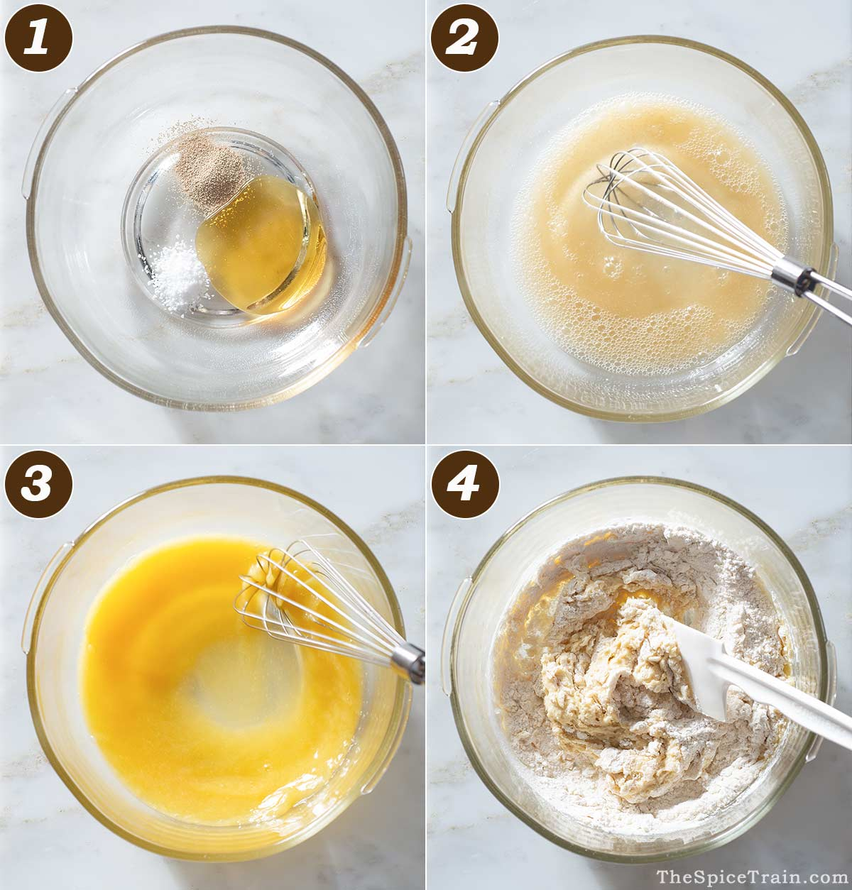 Yeast dough being prepared in four steps.
