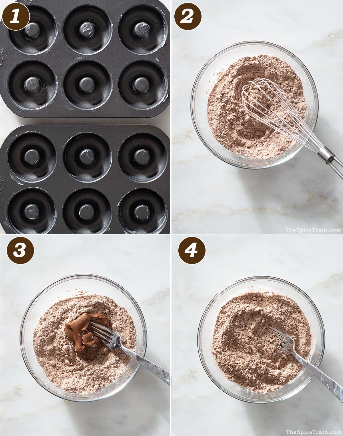 Donut pan and dry ingredients.