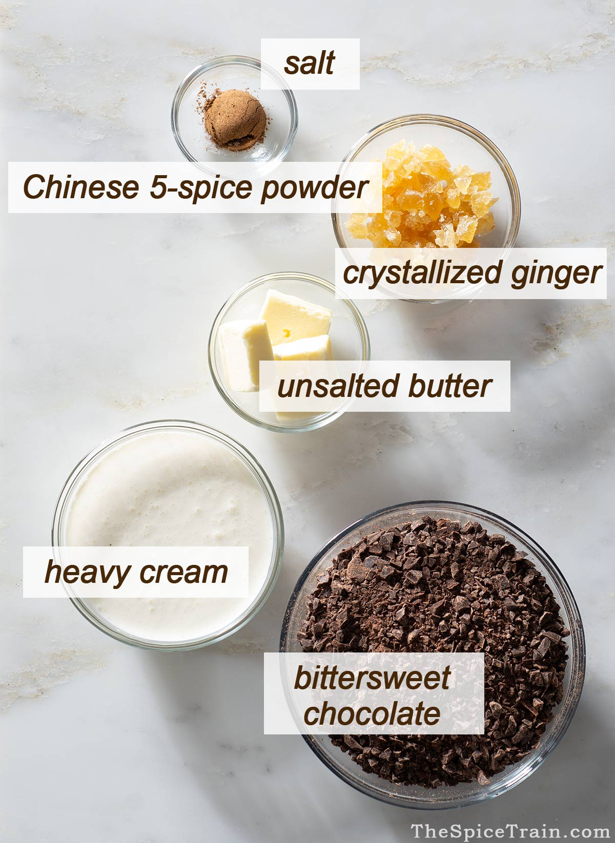 All ingredients needed to make Chinese 5-spice chocolate truffles with crystallized ginger.
