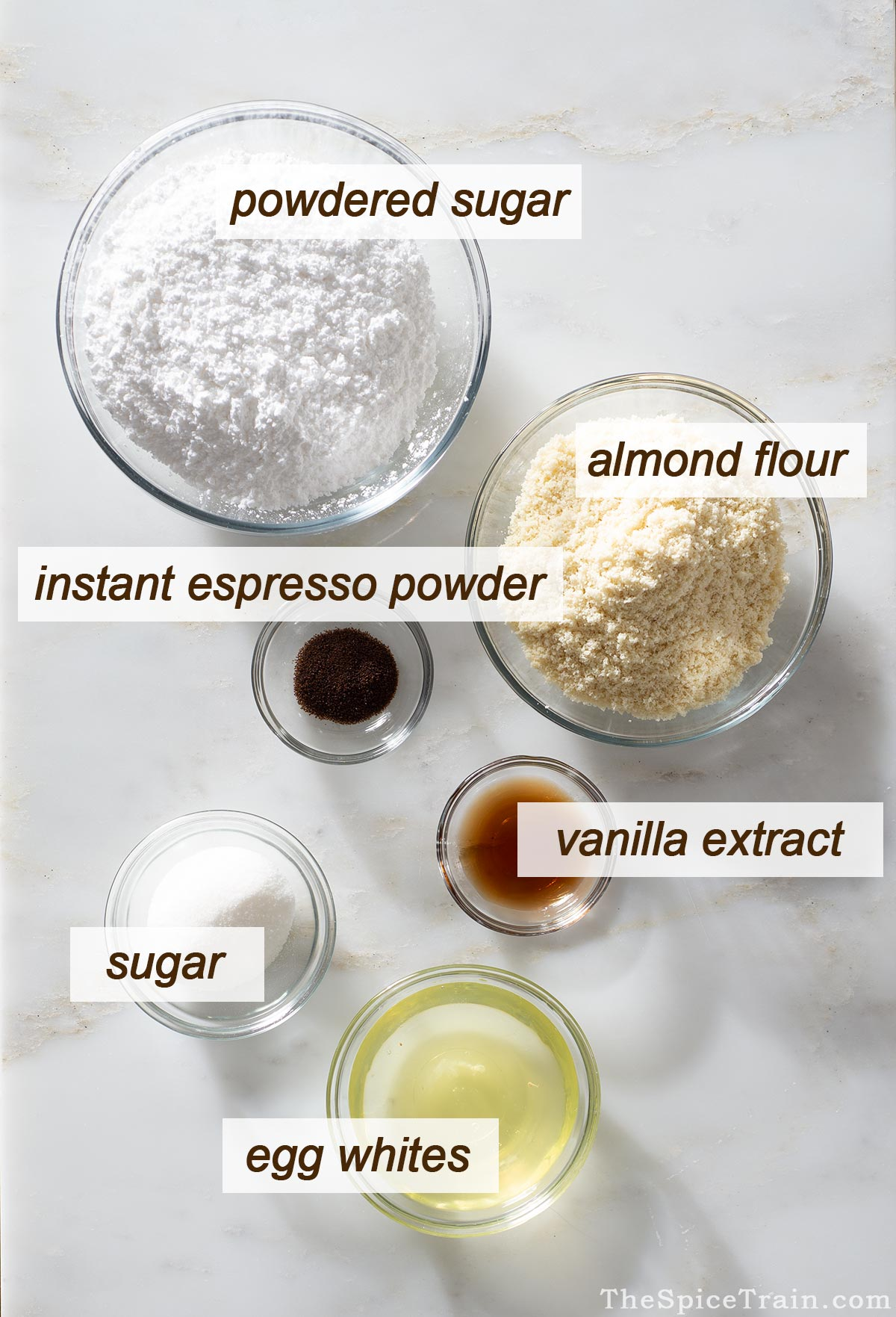 All ingredients needed to make coffee macarons.