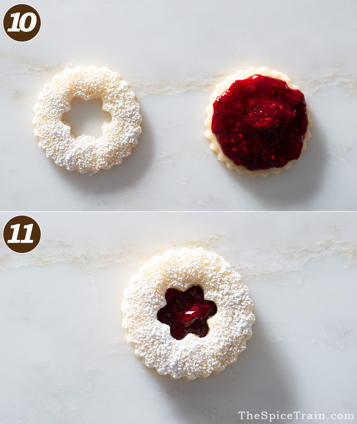 A Linzer cookie with raspberry jam before and after assembly.