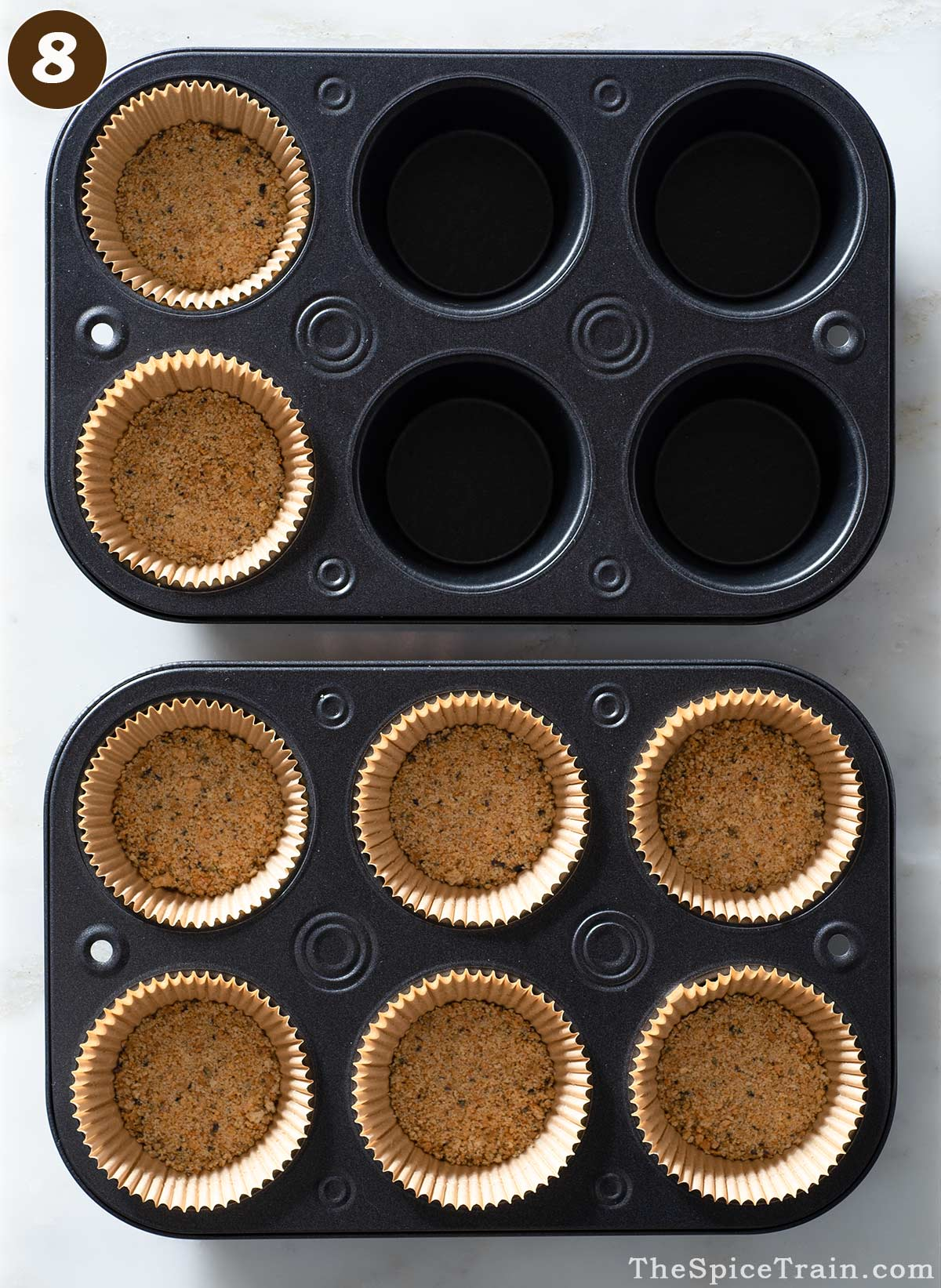 Lavender graham cracker crusts in muffin tins.