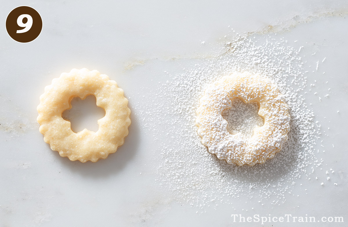 A Linzer cookie before and after dusting with powdered sugar.