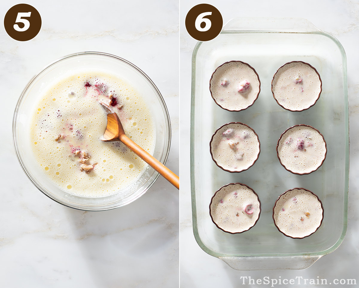 Raspberry custard in a bowl and then in six small ramekins in a glass baking pan.