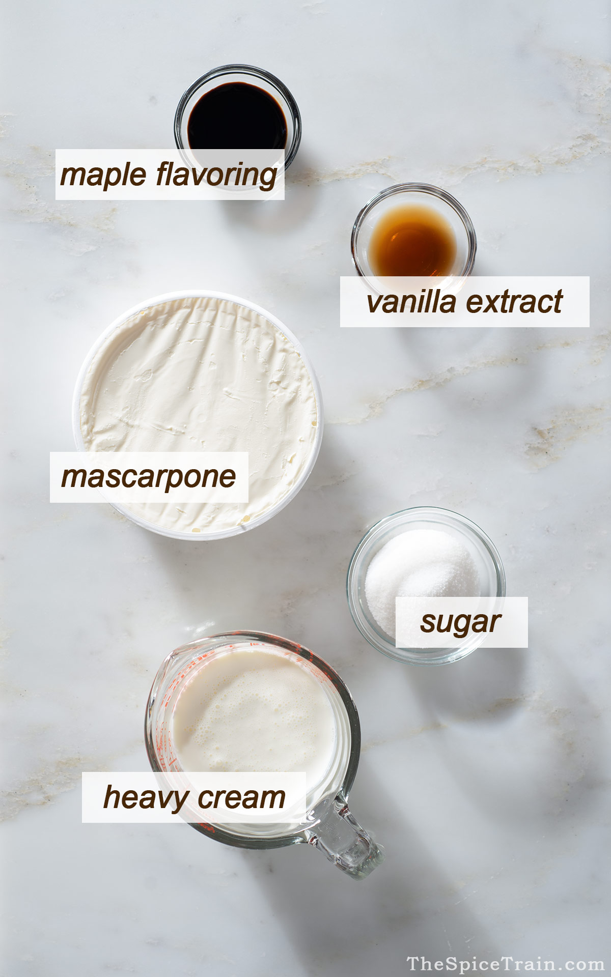 All ingredients needed to make maple mascarpone frosting.