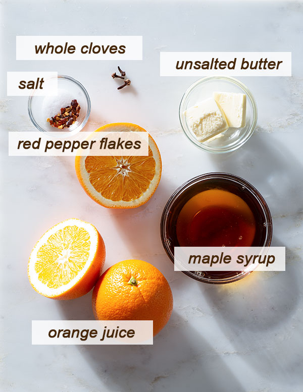 All ingredients needed to make a maple orange glaze for chicken wings.