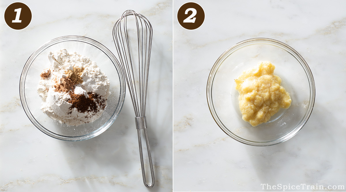 A bowl with banana donut dry ingredients and a mashed banana.