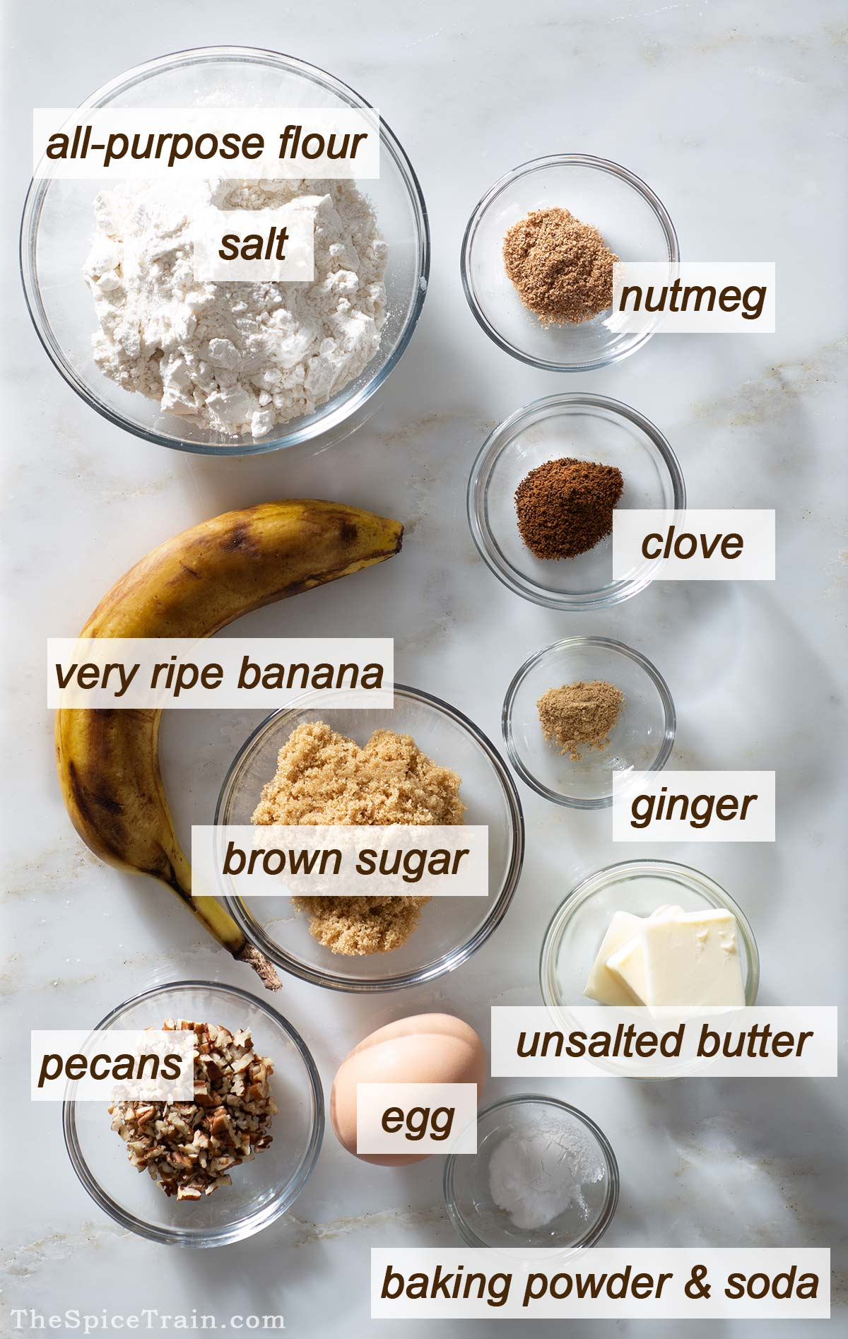 All ingredients needed to make banana donuts.
