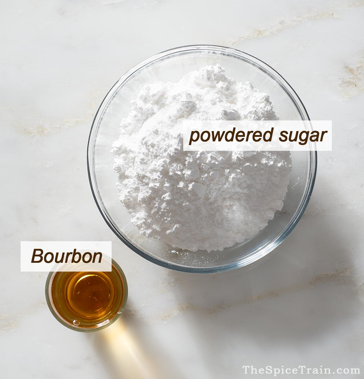 Ingredients needed to make a Bourbon glaze.