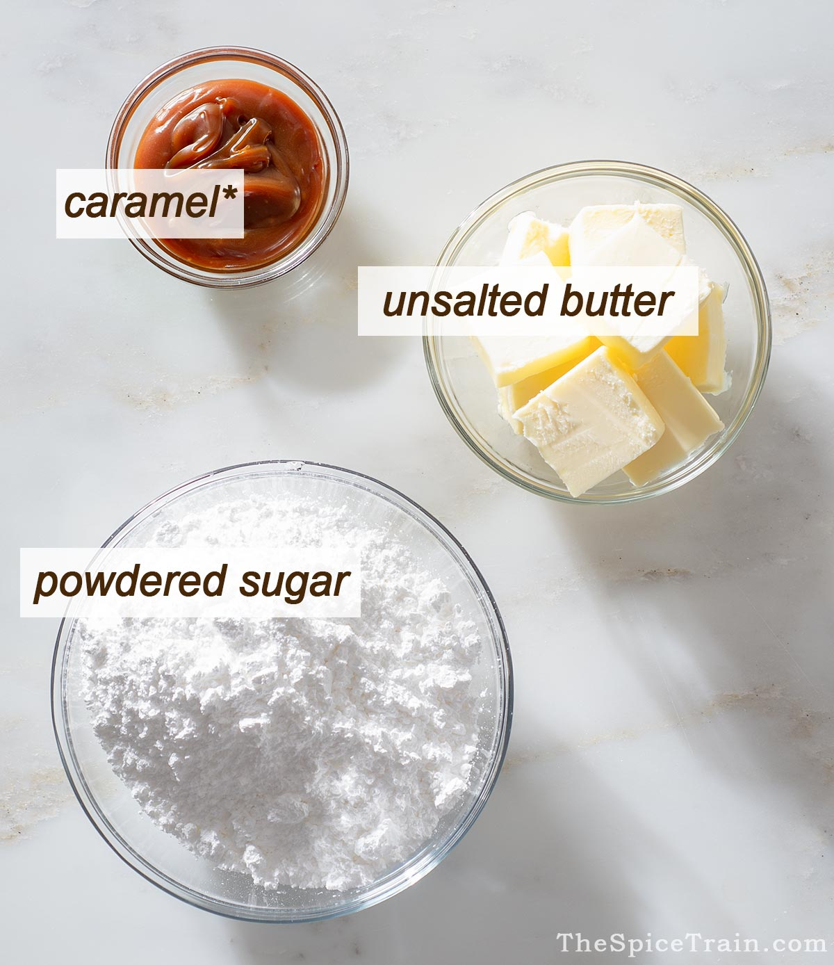 All ingredients needed to make a caramel buttercream frosting.