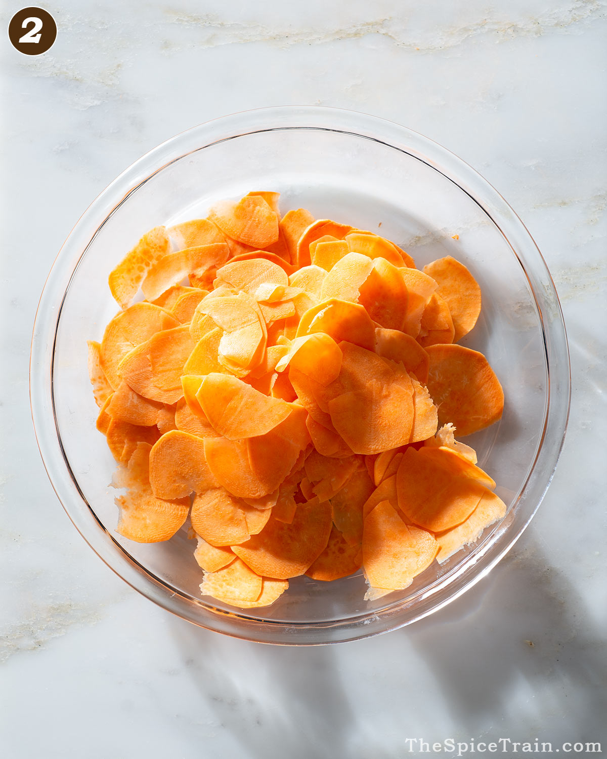 Thin sweet potato slices.