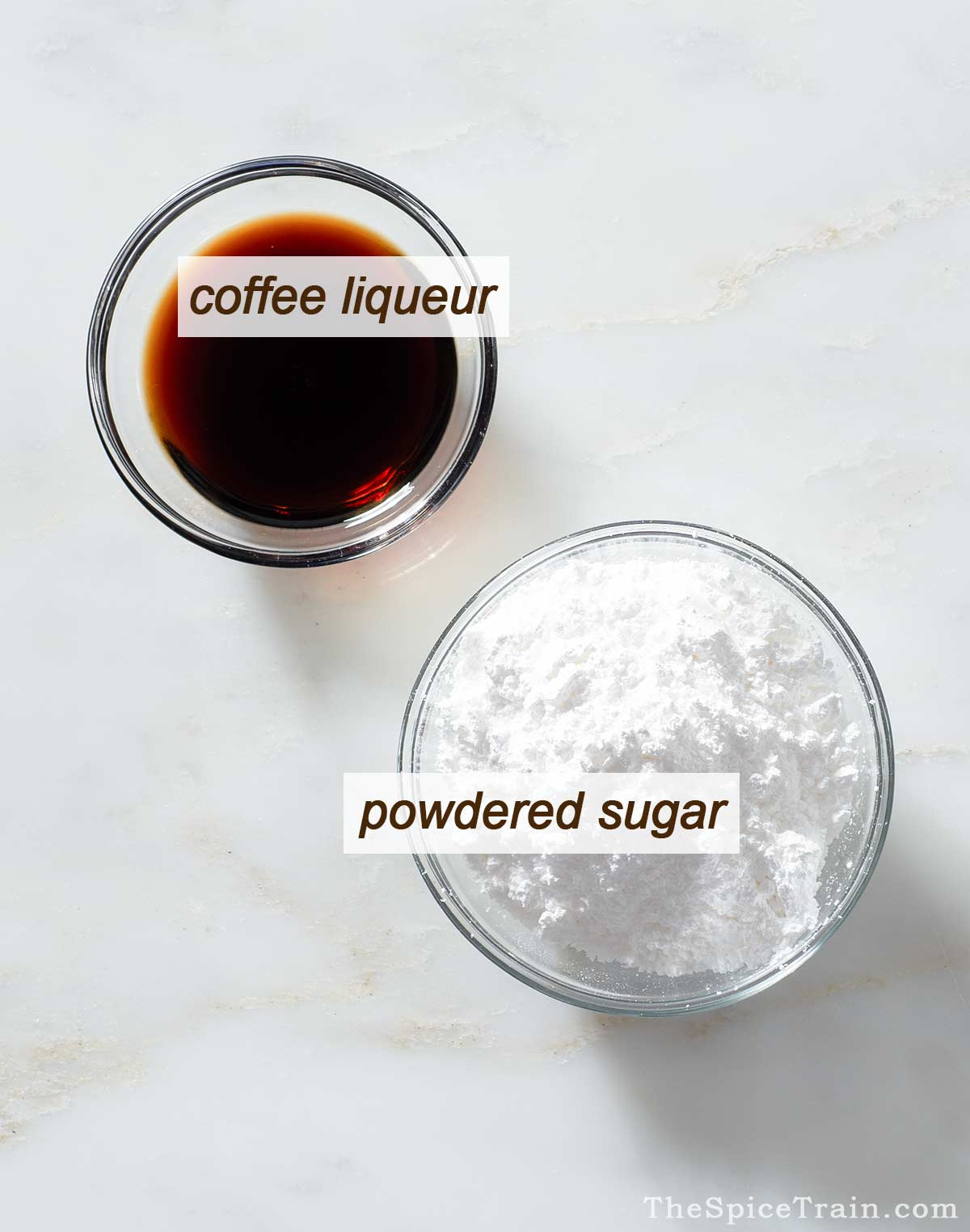 All ingredients needed to make a coffee glaze.