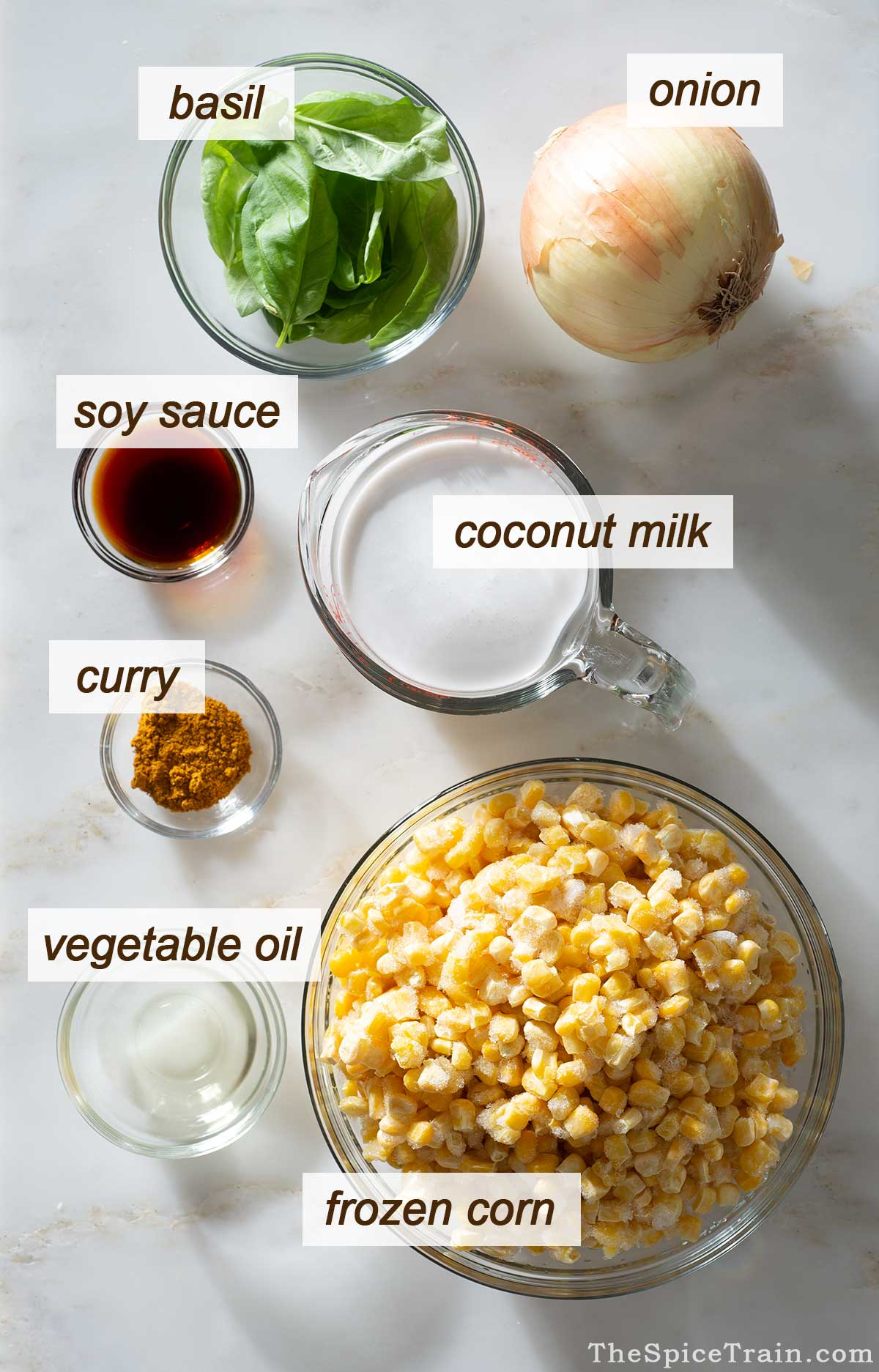 Curried corn ingredients on a kitchen counter.