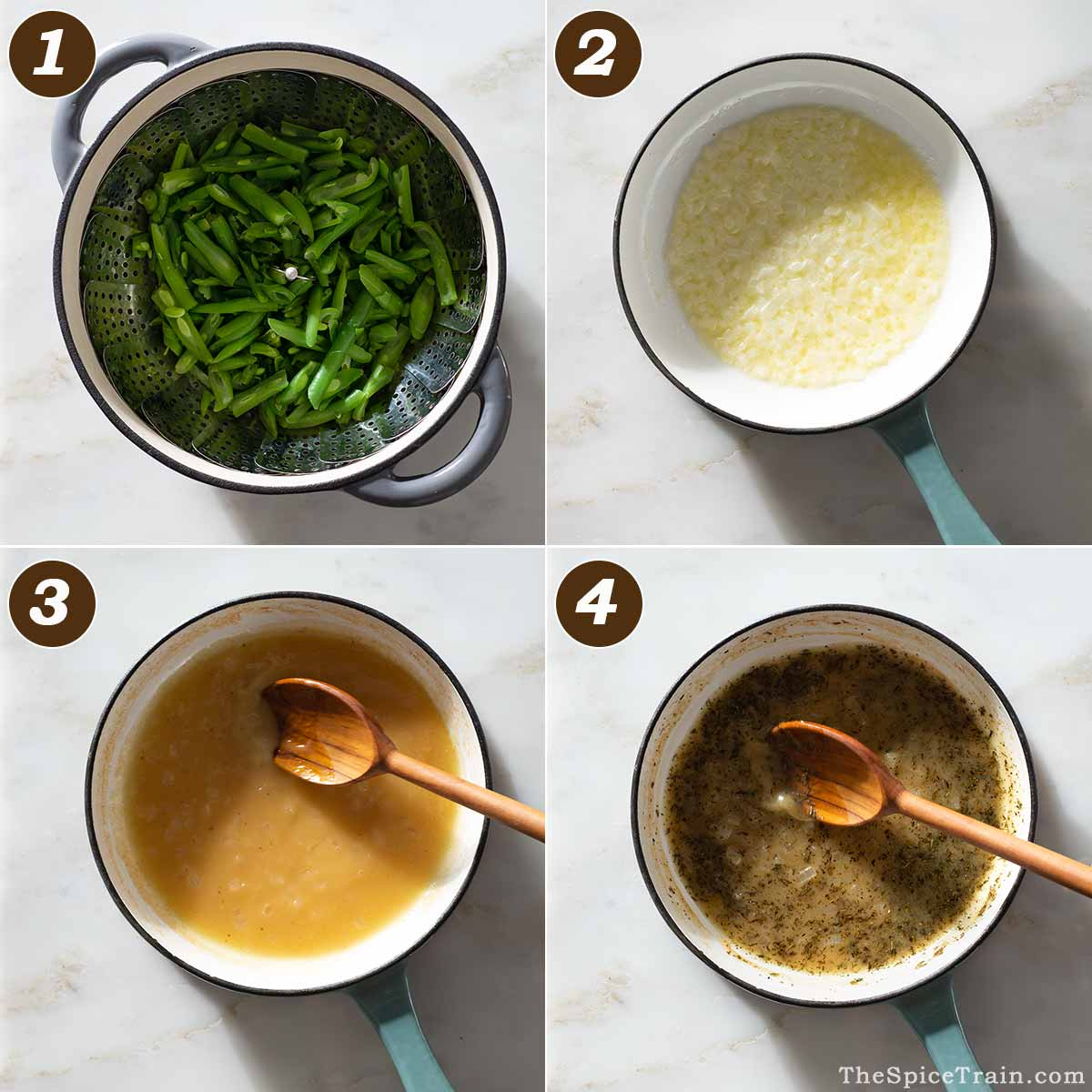 Green beans and sauce being prepared in four steps.
