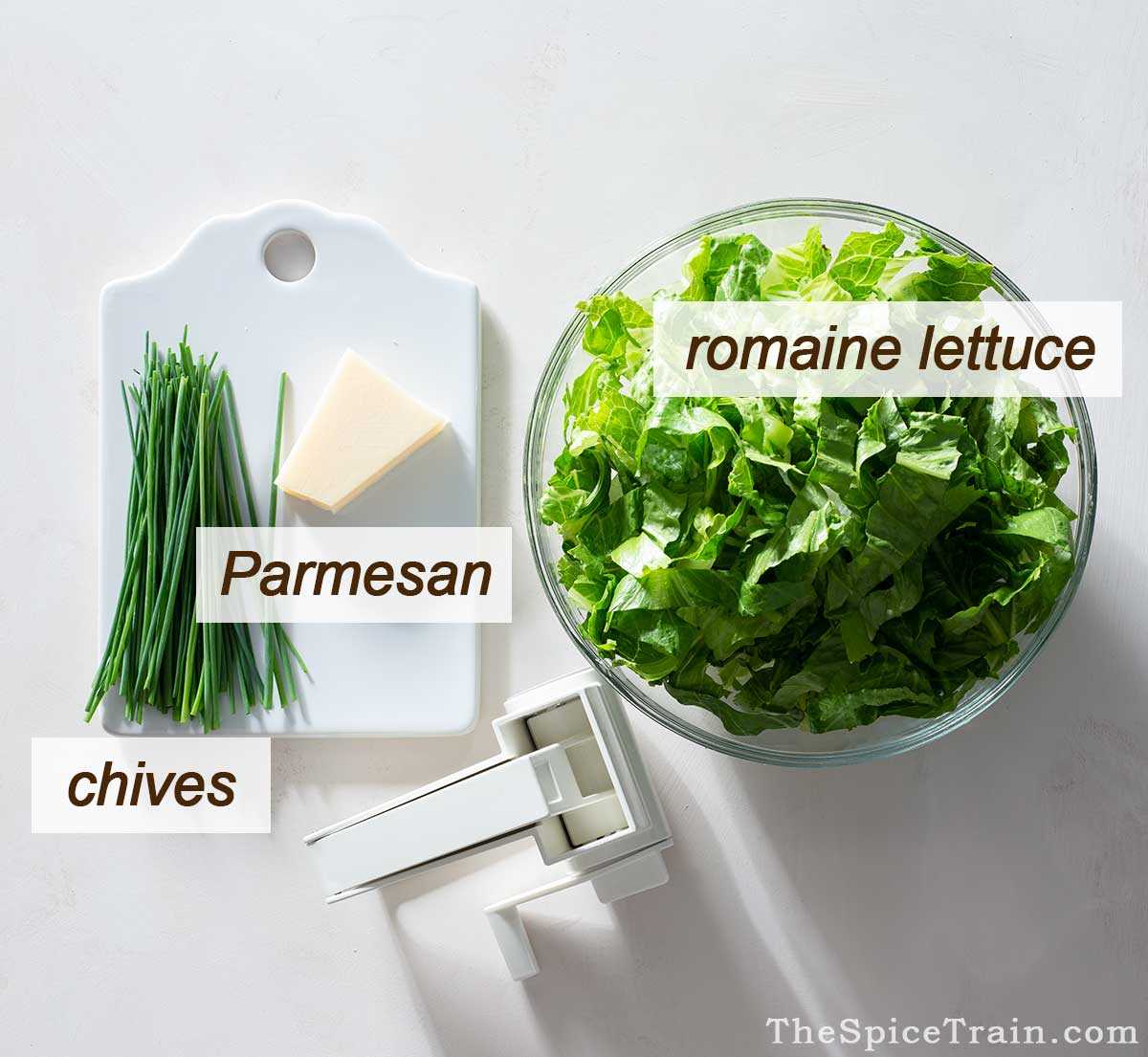Lettuce, parmesan and chives.
