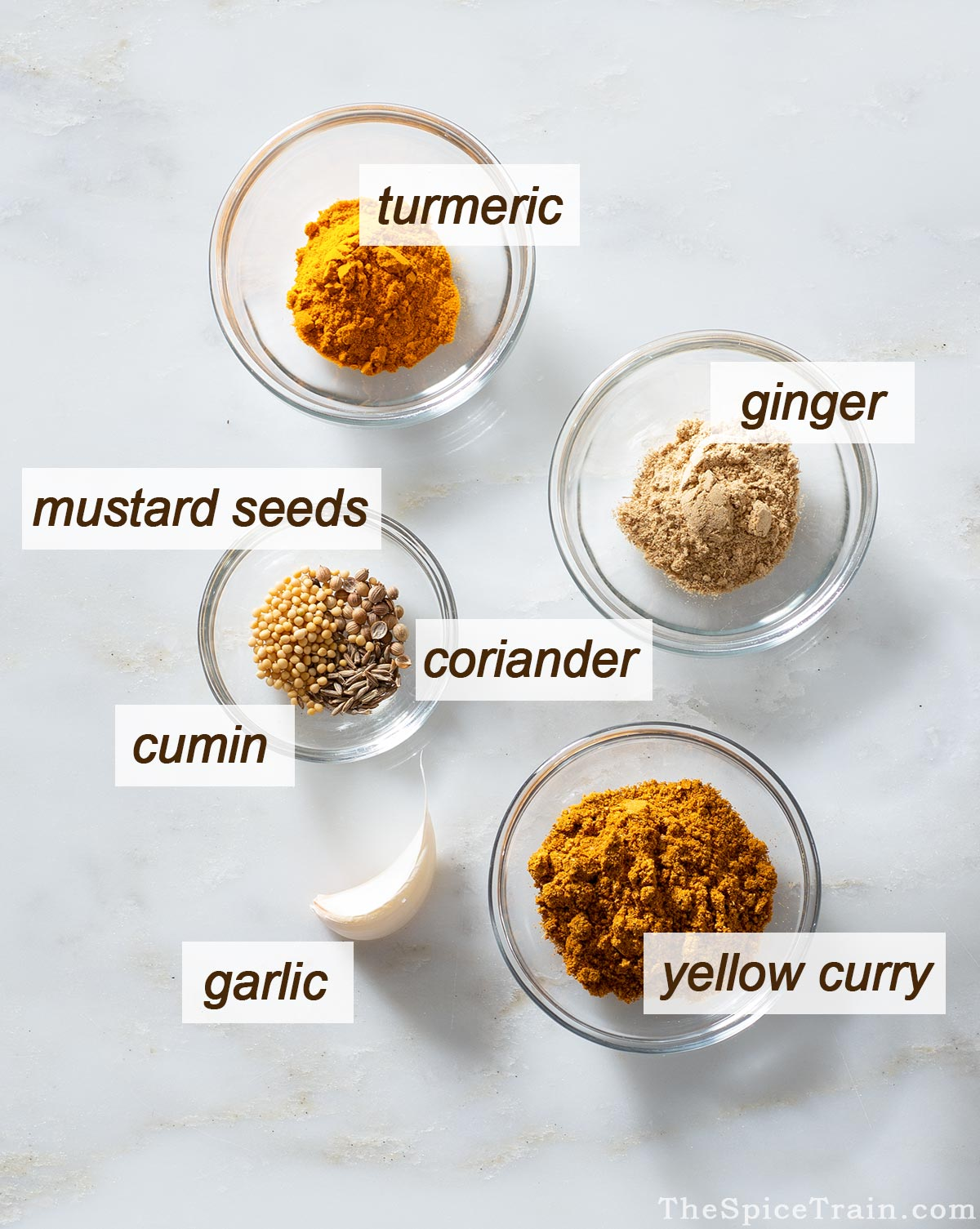 All the spices that are in Thai chicken curry.