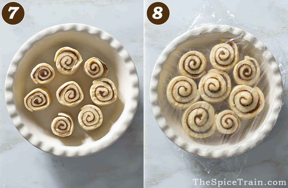 Unbaked cinnamon rolls before and after rising.