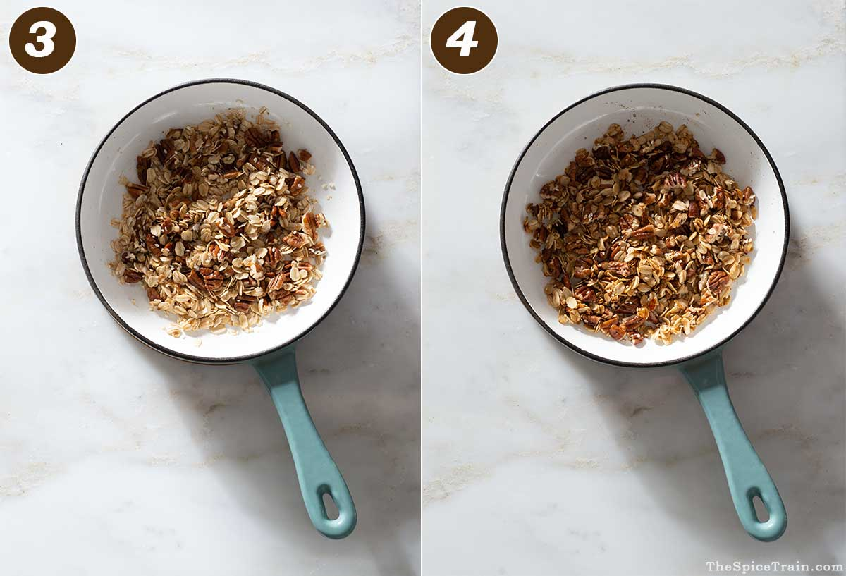 Apple crisp topping in a pan.
