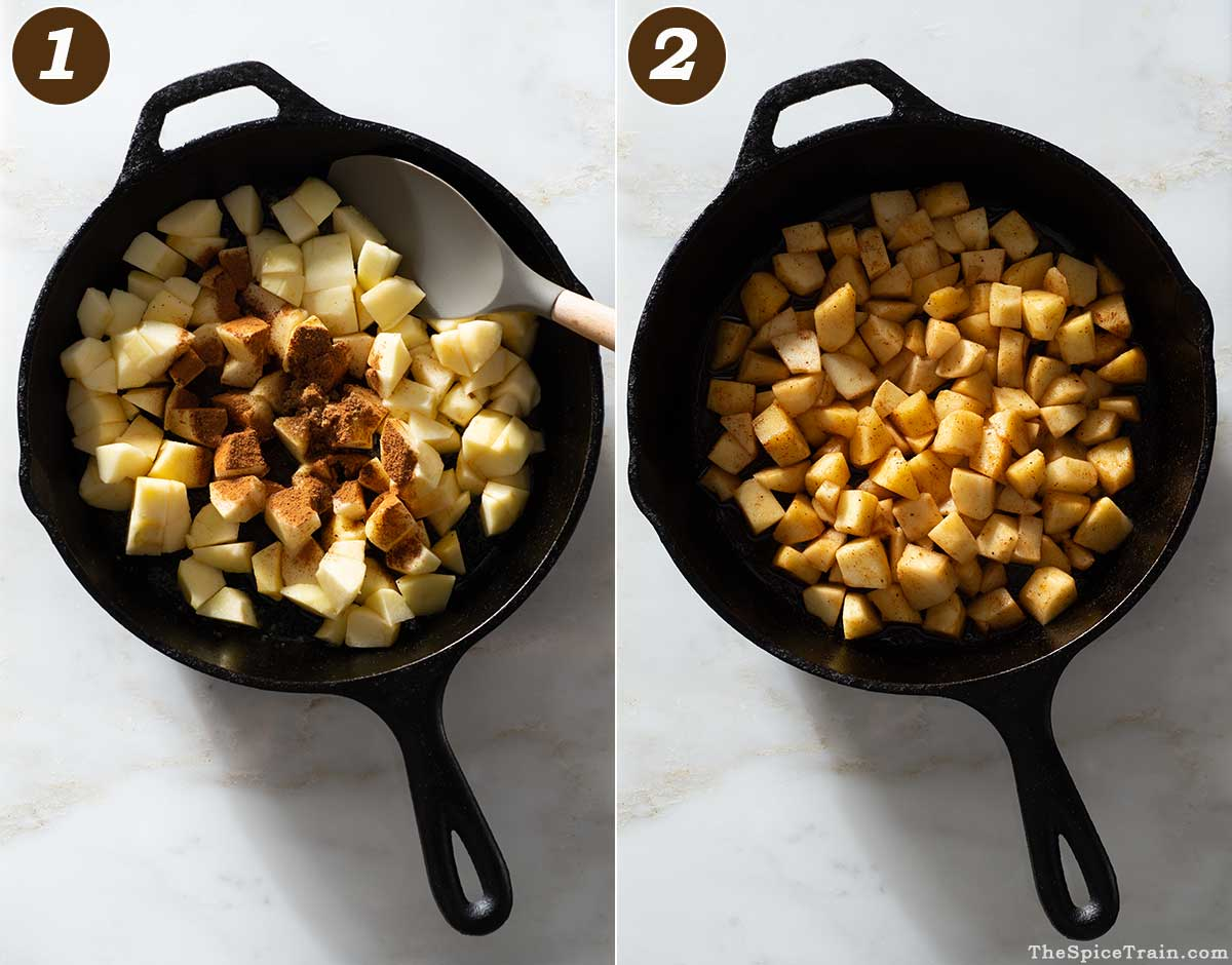 Apples in a cast iron pan before and after cooking.