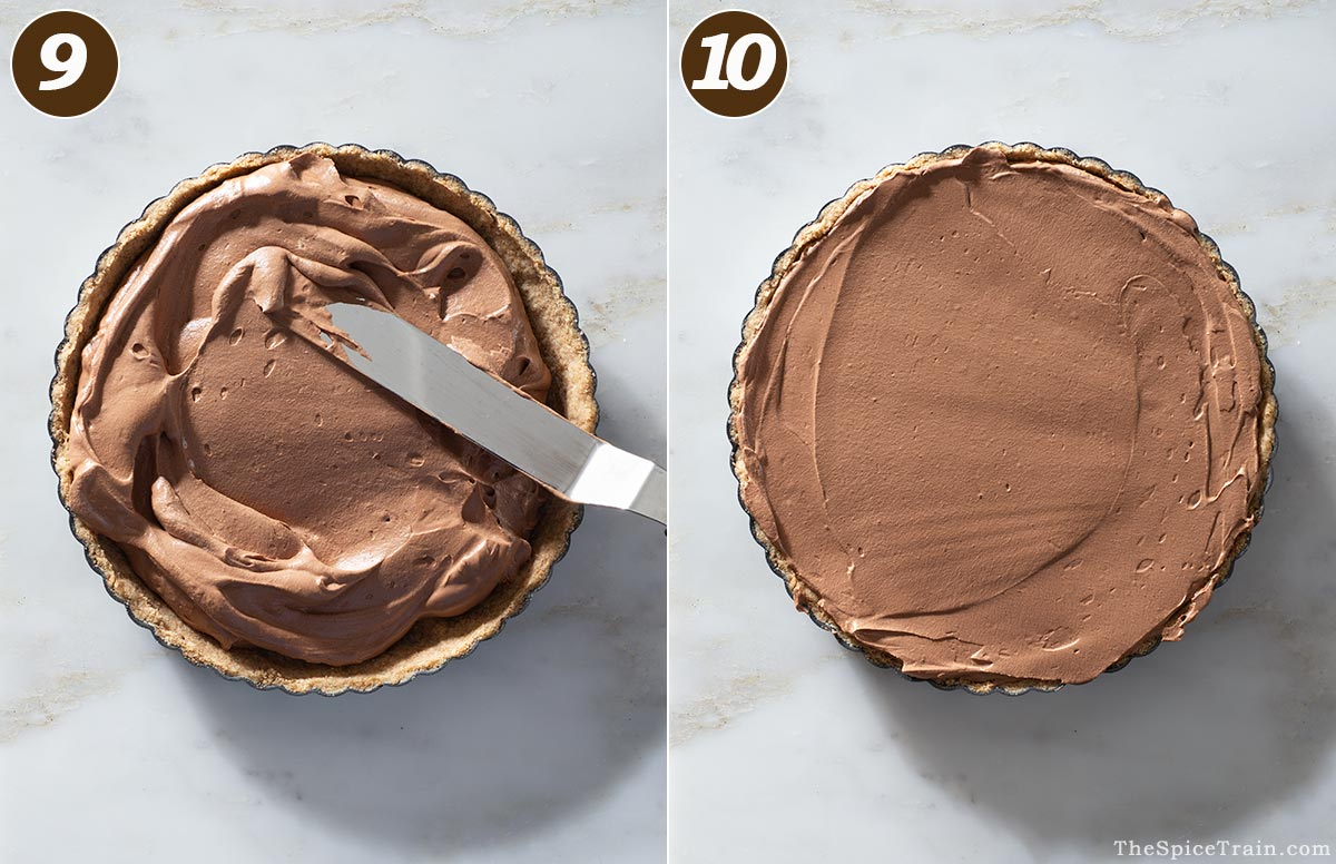 Chocolate mousse being filled into a tart crust.
