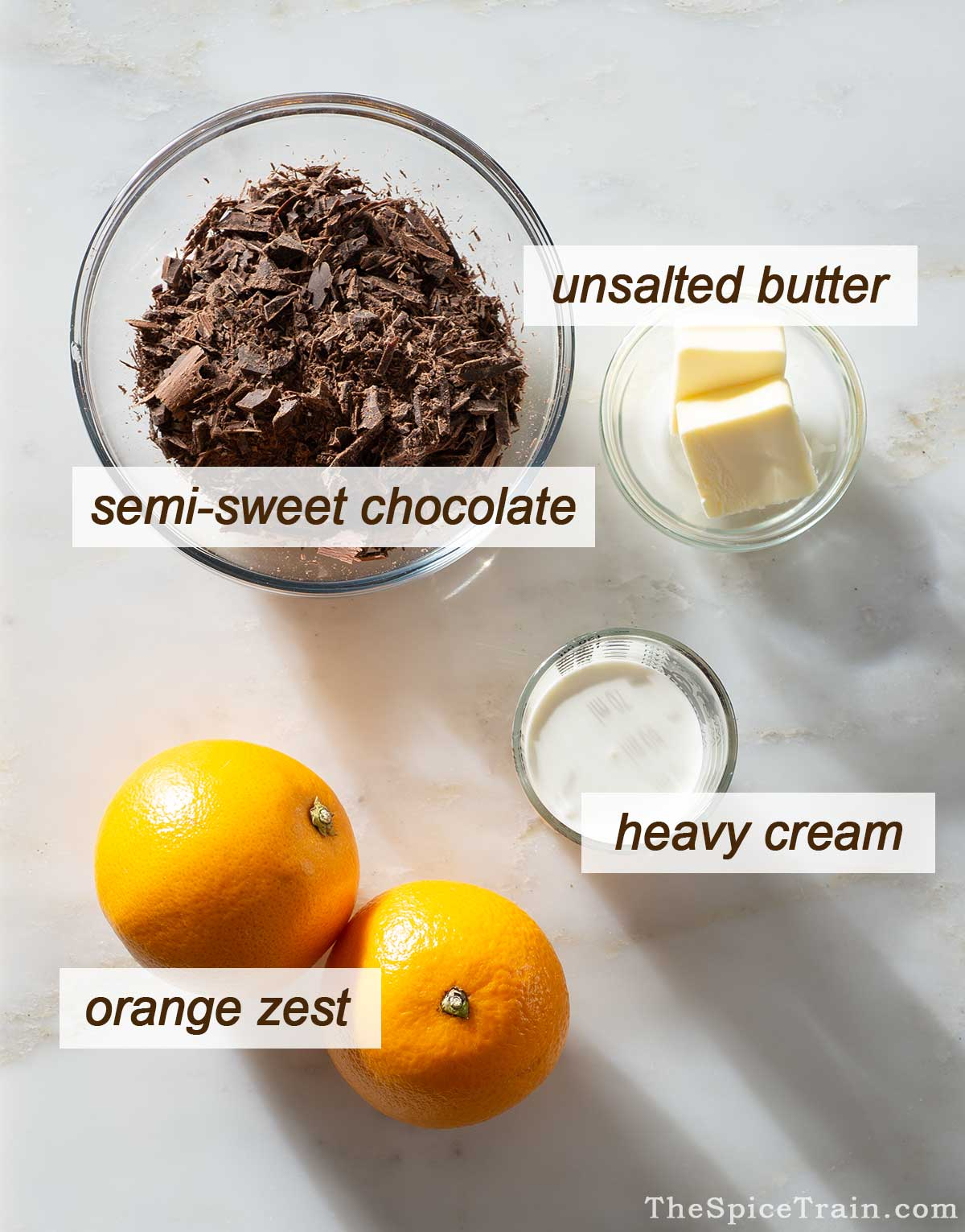 Chocolate orange filling ingredients on a kitchen counter.