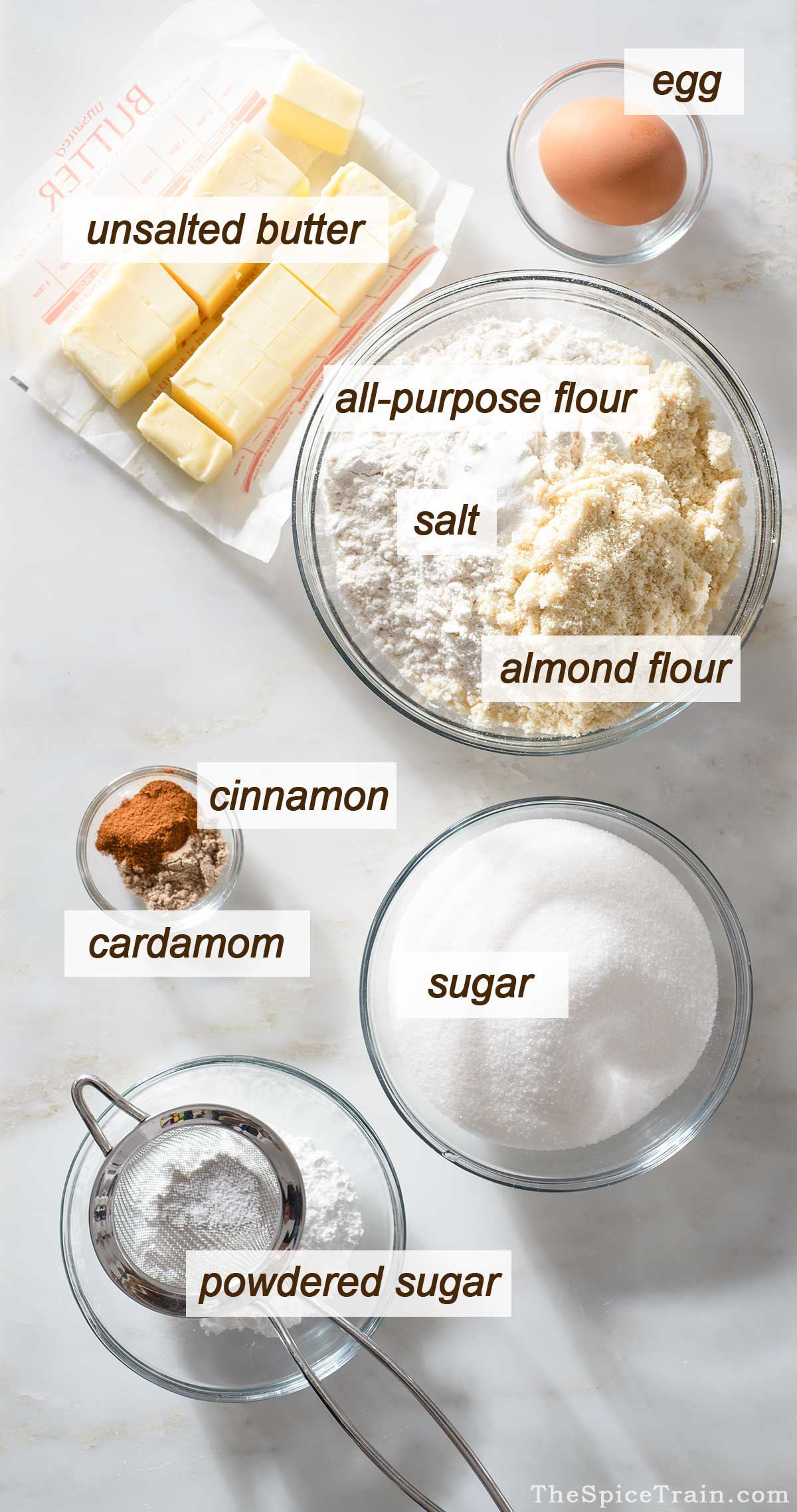 Cookie dough ingredients on a kitchen counter.