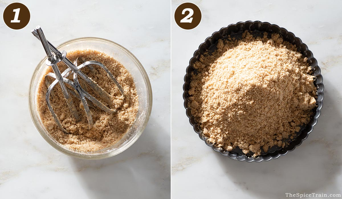 Graham cracker crust dough in a bowl and in a tart pan.