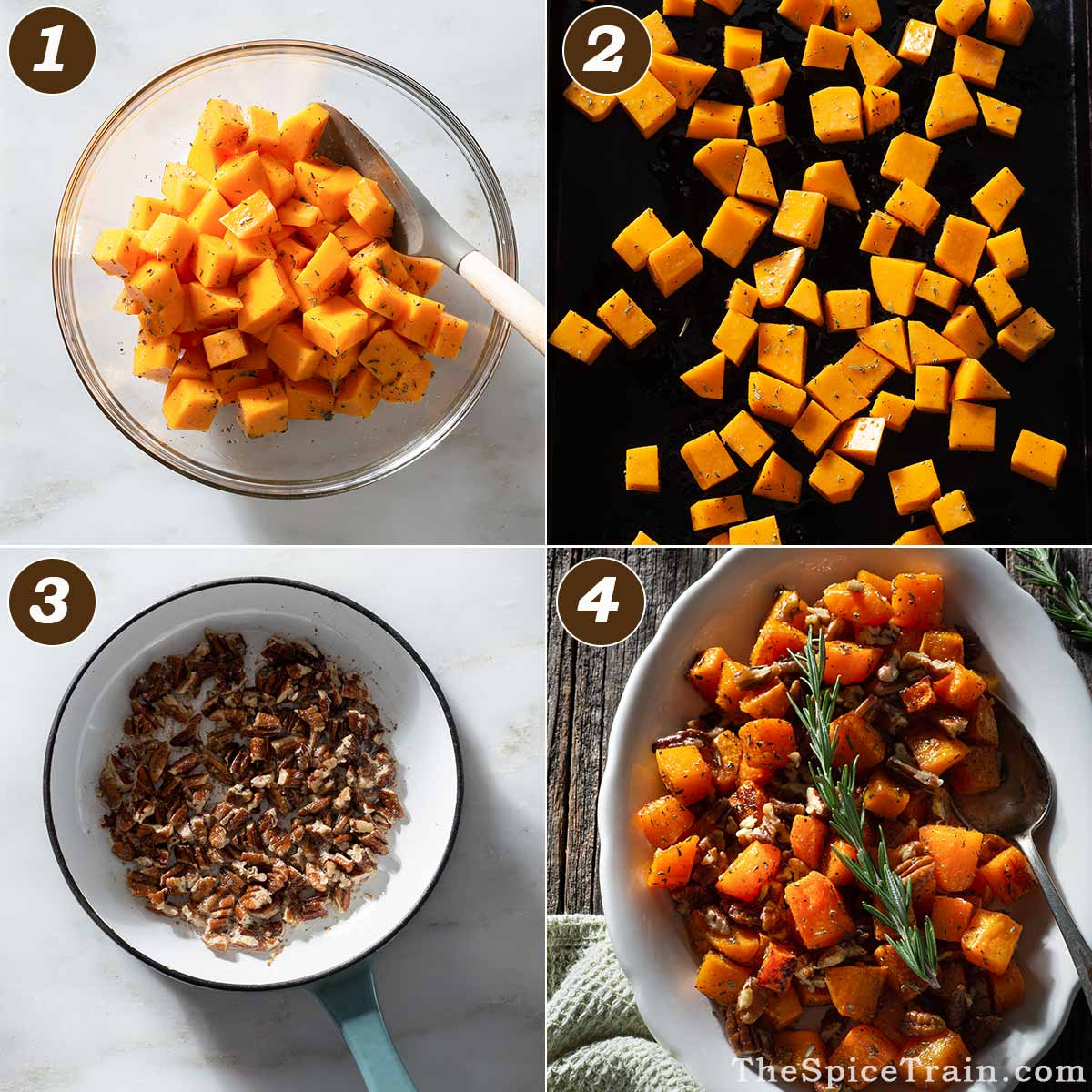 Roasted butternut squash and brown sugar pecans being prepared in four steps.