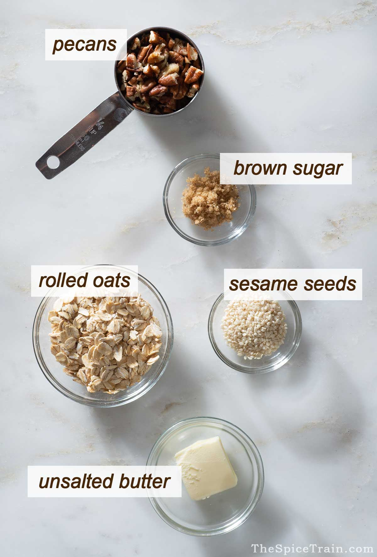 Apple crisp topping ingredients on a kitchen counter.